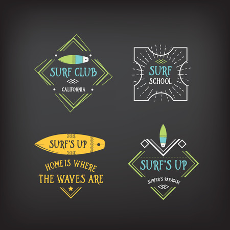 surf silhouettes: Surf vintage elements. Retro logo board. Hawaii beach wave banner.