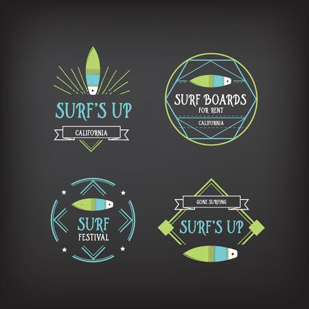 hawaii beach: Surf vintage elements. Retro  board. Hawaii beach wave banner.