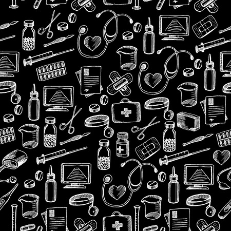 medical drawing: Seamless pattern background medical equipment.
