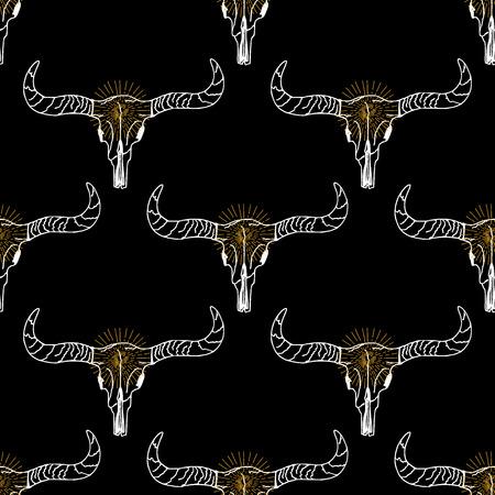 longhorn: Seamless pattern background longhorn skull.