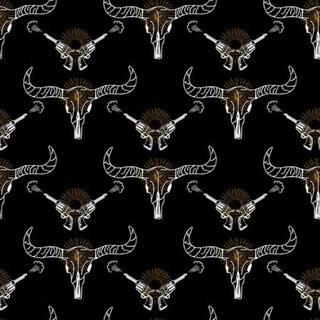 longhorn: Seamless pattern background longhorn skull and revolver.