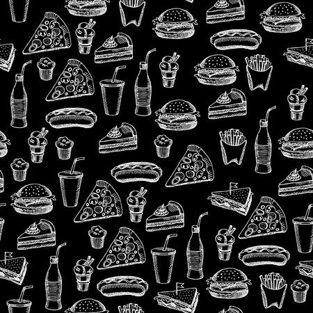 Seamless pattern background fast food. Stock Illustratie