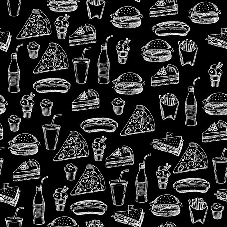 black fabric: Seamless pattern background fast food. Illustration