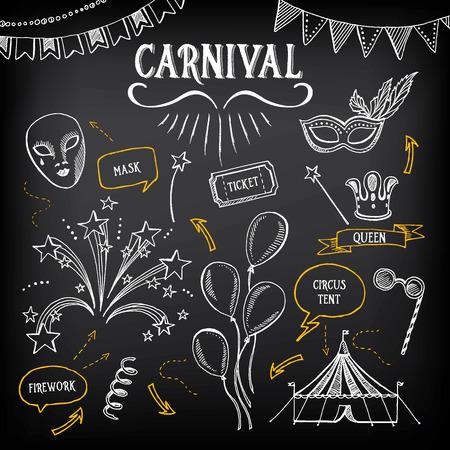 Ícones de carnaval, desenho de esboço. Ilustración de vector