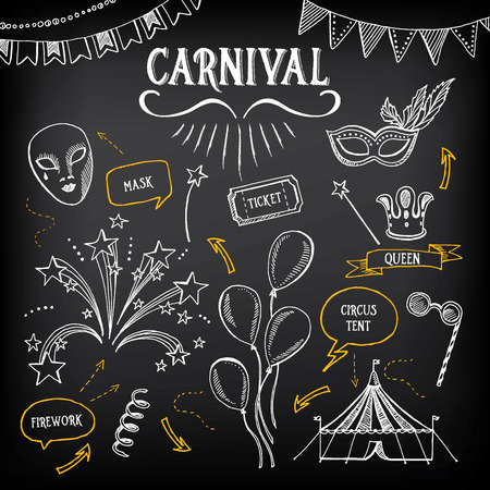 circus background: Carnival icons, sketch design.