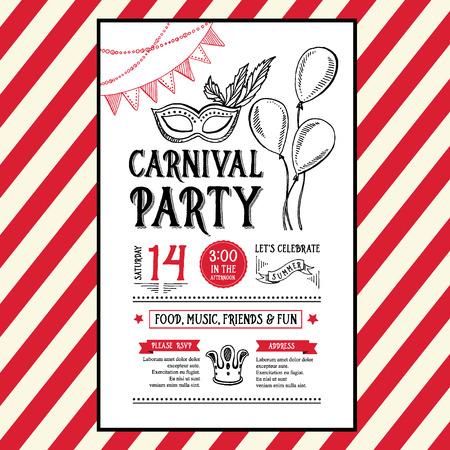 Carnaval Invitación flyer.Typography partido y el diseño. Ilustración de vector