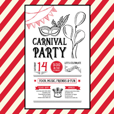 carnival masks: Invitation carnival party flyer.Typography and design.