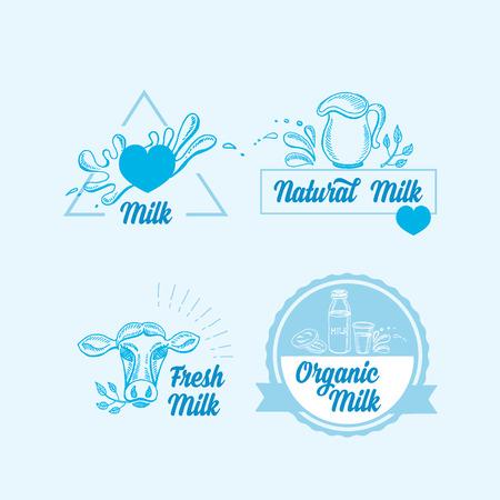 product healthy: Latte naturale con spruzzi, icone di design. Prodotto sano. Vettoriali