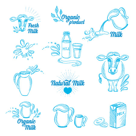 product healthy: Natural milk with splashes, icons design. Healthy product.
