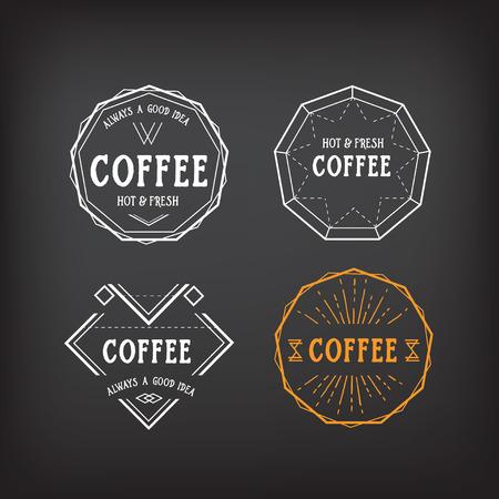 Coffee menu   template vintage geometric badge. Vector food design. Vector