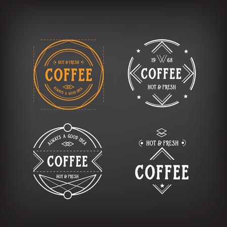 Coffee menu logo template vintage geometric badge. Vector food design. Vector