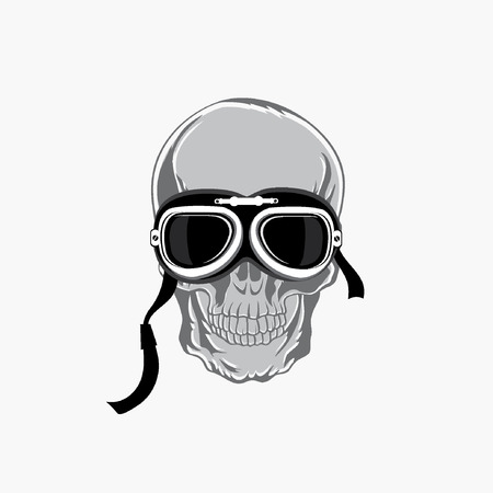 cool guy: Dead biker graphic print. Motocycle helmet and skull. Design shirt grunge.