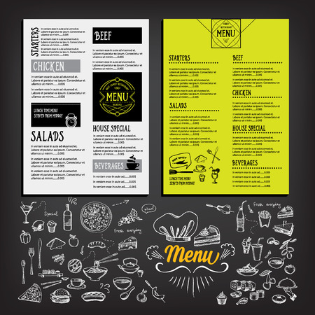 menu background: Restaurant cafe menu, template design. Food flyer. Illustration