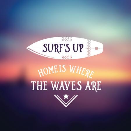 hawaii beach: Surf vintage retro poster. Hawaii beach wave banner. Illustration