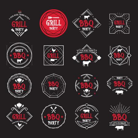 old bar: Barbecue party icon. BBQ menu design.