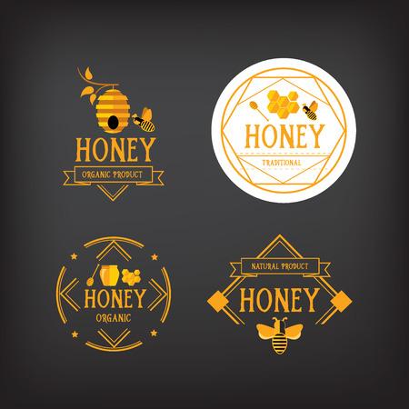 蜂蜜ラベル デザイン。蜂のバッジ。  イラスト・ベクター素材
