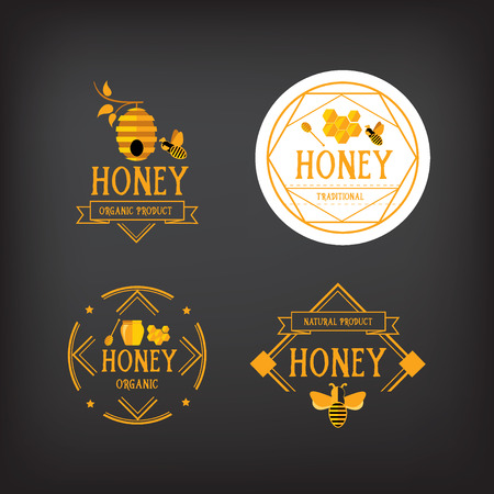 bee: Honey label design. Bee badge. Illustration