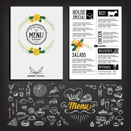 the cook: Food menu, restaurant template design. Flyer cafe. Brochure vintage. Cook idea.