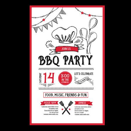 バーベキュー パーティーの招待状。バーベキュー メニュー デザイン テンプレート。食品チラシ。  イラスト・ベクター素材