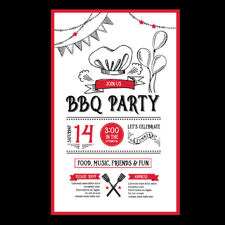 party food: Barbecue party invitation. BBQ template menu design. Food flyer.