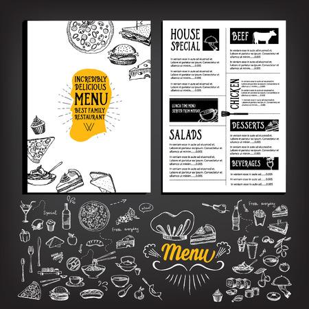 wine label design: Restaurant cafe menu, template design. Food flyer. Illustration