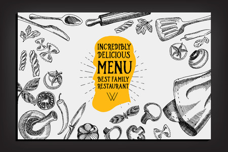 grilled vegetables: Cafe menu restaurant brochure. Food design template.