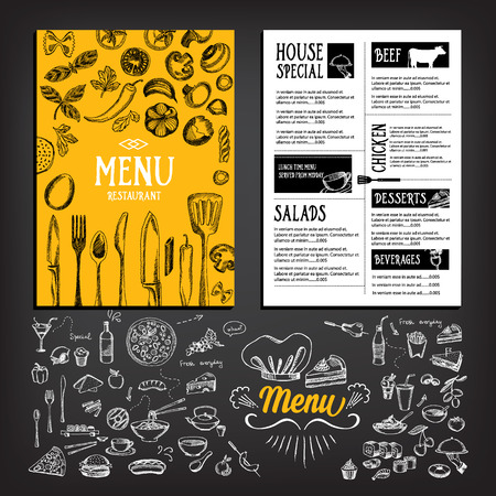 illustration people: Cafe menu restaurant brochure. Food design template.