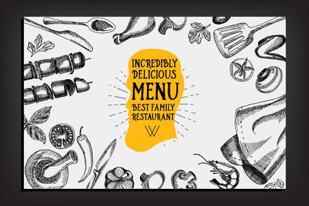 logo de comida: Men� Cafe folleto restaurante. Modelo del dise�o de la Alimentaci�n.