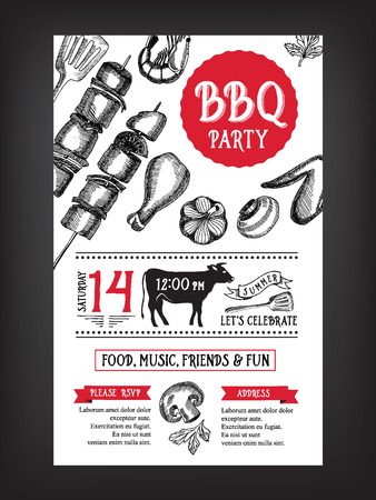 Barbecue partij uitnodiging. BBQ template menu design. Eten flyer.