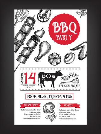 Barbecue-Party Einladung. BBQ Vorlage Menü-Design. Essen Flyer. Standard-Bild - 41200985