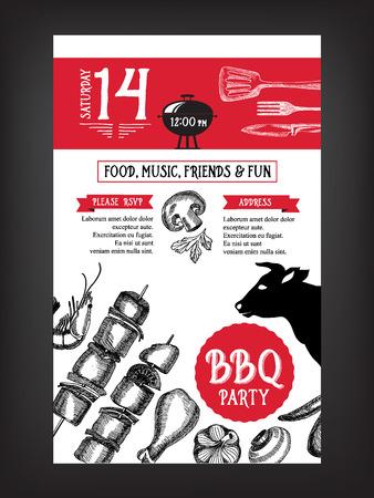 logo de comida: Invitación del partido de la barbacoa. Plantilla barbacoa diseño del menú. Folleto de Alimentos.