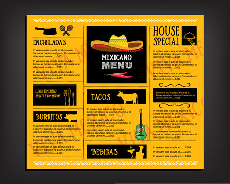 mexican: Cafe menu restaurant brochure. Food design template.