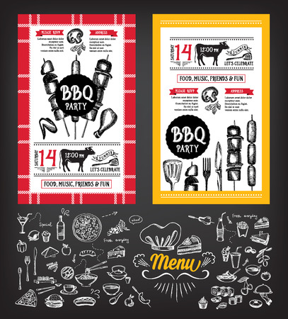 dinner party people: Barbecue party invitation. BBQ template menu design. Food flyer.