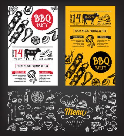 食物: 燒烤派對的邀請。燒烤模板菜單設計。食品傳單。 向量圖像