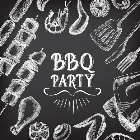 speisekarte: Barbecue-Party Einladung. Illustration