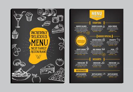 menu card: Restaurant cafe menu, template design. Food flyer. Illustration