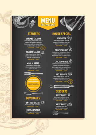 Restaurant cafe menu, template design. Food flyer. Иллюстрация