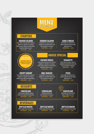 menus: Restaurant cafe menu, template design. Food flyer. Illustration