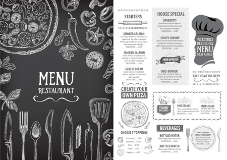 food icons: Restaurant cafe menu, template design. Food flyer. Illustration