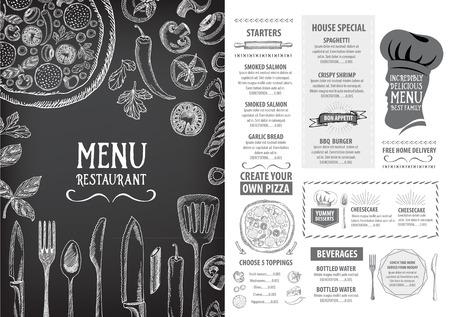 food: Restaurant menu do café, design do modelo. Panfleto alimentos.