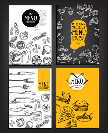 Restaurant cafe menu, template design. Food flyer. Illustration
