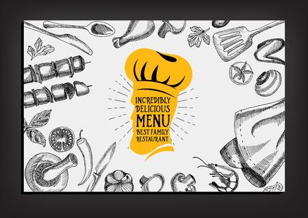 caf�: Ristorante bar menu, modello di progettazione. Volantino alimentare.