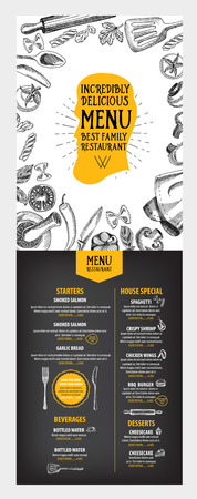 Menú de cafetería restaurante, diseño de la plantilla. Folleto de Alimentos.
