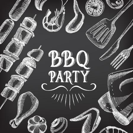 Barbecue party invitation. BBQ template menu design. Illustration