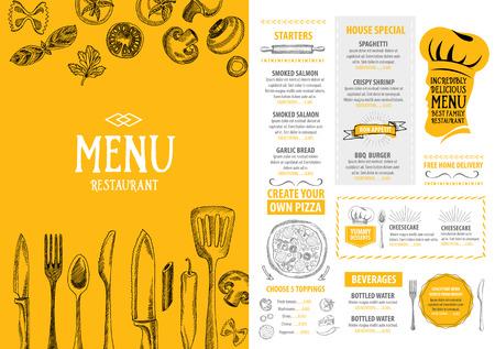 Restauracja i kawiarnia menu, szablon projektu. Ulotki żywności. Ilustracje wektorowe