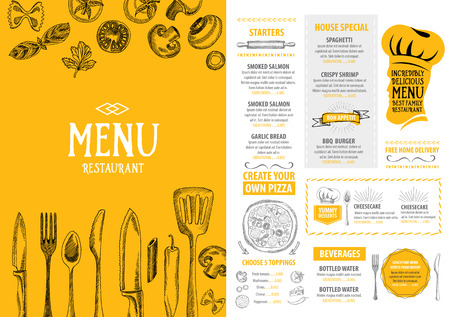 restaurant people: Restaurant cafe menu, template design. Food flyer. Illustration