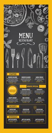 menu: Restaurant cafe menu, template design. Food flyer. Illustration