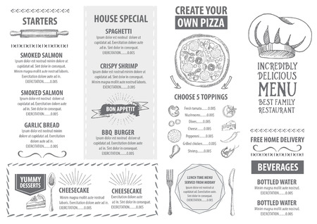 postres: Menú de cafetería restaurante, diseño de la plantilla. Folleto de Alimentos.