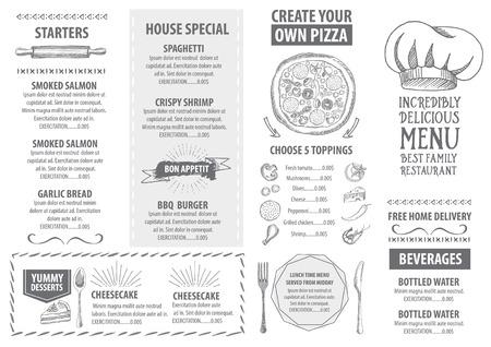 Restaurant cafe menu, sjabloon ontwerp. Eten flyer.