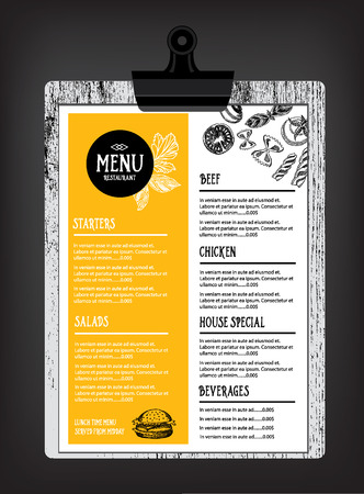 speisekarte: Cafe-Restaurant-Menü Broschüre. Food Design-Vorlage.
